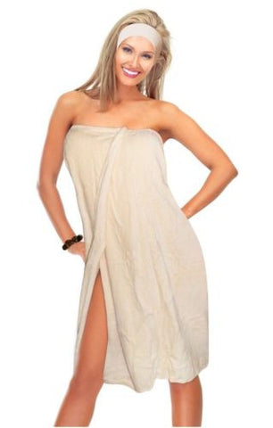 Luxury Spa Wrap Womens Plus Size Snap Bath Towel Shower Wrap (Ecru, XXL 1X 2X)