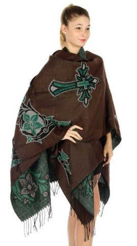 Floral Cross Ruana Shawl UNISEX Cape Woven Fringe Pashmina Wrap (Green Multi)