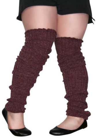 Plus Size Leg Warmers BURGANDY Over The Knee Super Long Cable Knit Leg Warmer