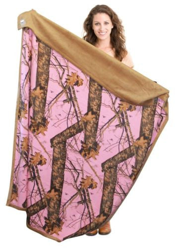 Mossy Oak Pink Camo Throw Faux Suede Blanket 56x70