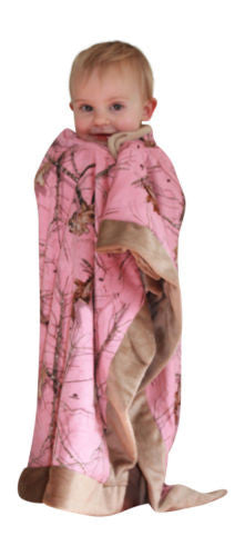 BLANKET Mossy Oak Pink Baby Toddler Newborn Micro Suede Faux Shearling Blanket