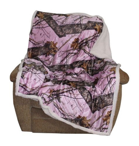 Mossy Oak Pink Camo Sherpa Throw Blanket Adult Womens Size Cozy 50x60""