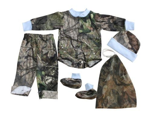 Mossy Oak Realtree Baby Outfit 4PC Set:T-shirt Easy-On, Pant, Cap, Boot (3-6 M)