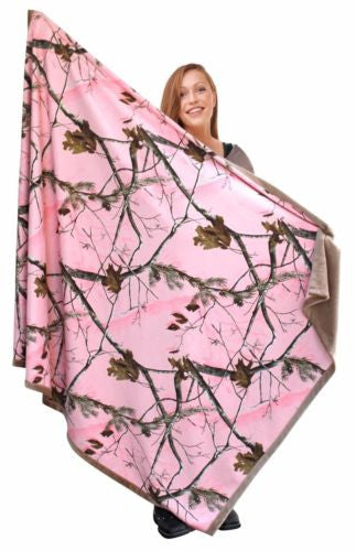 Pink Realtree Camo Throw Blanket 56x70 Faux Suede Womens Adult Lap Couch Snuggle