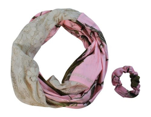 Realtree Pink Womens Infinity Camo and Lace Scarf, APC Camouflage, One Size