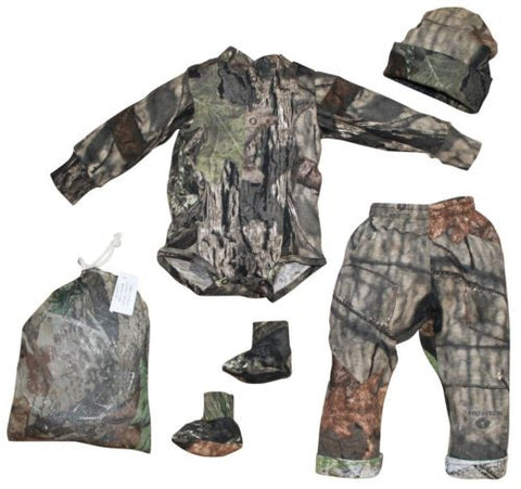 Mossy Oak Baby Boys Camo Outfit 4PC Shirt Pant Cap Booties Set (3-6 Month)