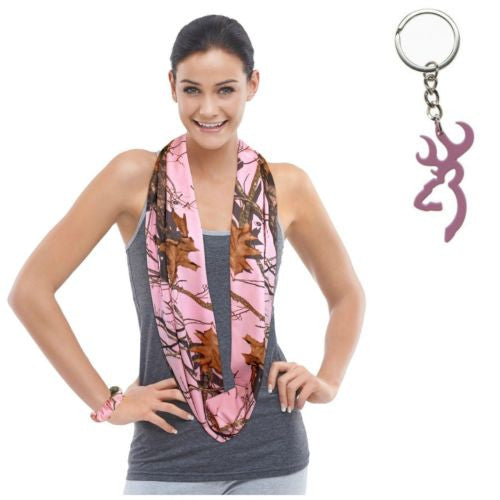 Mossy Oak Pink Camo Infinity Scarf + Browning Buckmark Key Ring