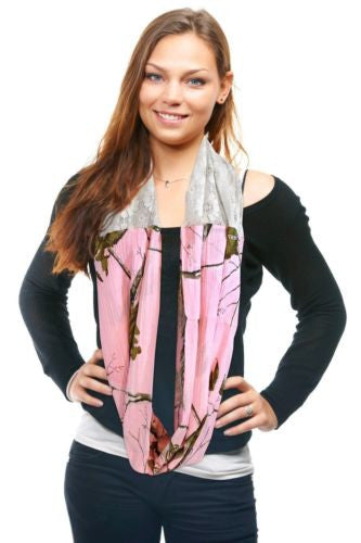 Realtree Pink Infinity Scarf, Womens Realtree Girl Chloe Lace & Camo Scarf