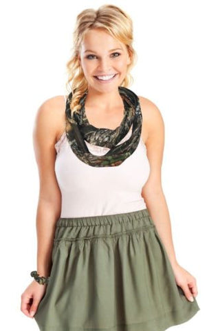 Mossy Oak Camo Infinity Scarf + Ponytail Scrunchie (MO Break Up)