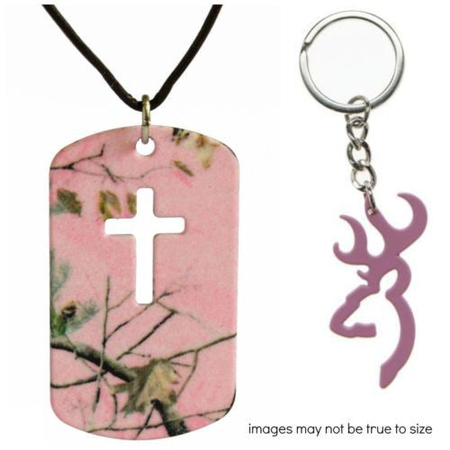 Realtree Pink Cross Dog Tag Necklace Jewelry +