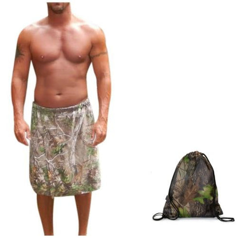 Mens Realtree Spa Wrap, Xtra, Licensed, Packed in Forest Camo Mini Tote