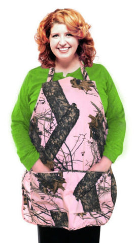 Mossy Oak Pink Apron Women S-2X Plus Size Made in USA Country Kitchen Chef Apron