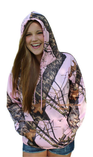 Mossy Oak Pink Hoodie Womens MOP Camo Performance Fleece Hooded Sweatshirt S-XL
