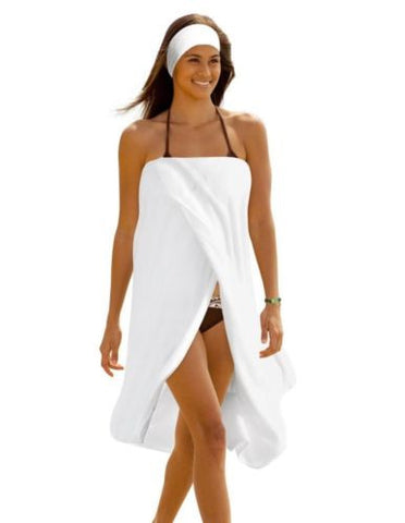 Luxury Spa Wrap Womens & Plus Size 6X Snap Bath Towel Shower Wrap (White, 6XL...