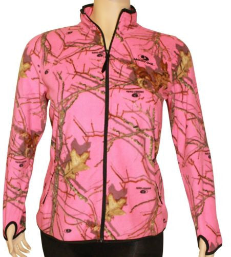 Pink Mossy Oak Microfleece Jacket Womens Lightweight Zip-Up 2X 2XL