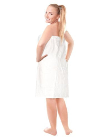 Luxury Spa Wrap Womens Plus Size Snap Bath Towel Shower Wrap (White, XXL 1X 2X)