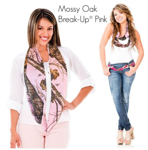 Mossy Oak Pink Camo Infinity Scarf + WWJD Band, Break Up Pnk, Made in USA, Li...