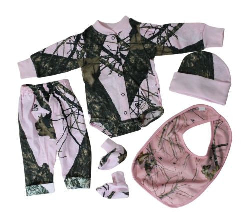 Mossy Oak Pink Baby Girls Camo Outfit 4PC Shirt Pant Cap Booties Set +(3-6Mon...