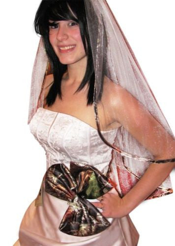 Mossy Oak Veil Two Tier White Tulle Camo-Trimmed Wedding Bridal Veil