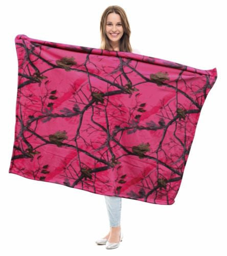 Pink Realtree Camo Throw Blanket 50x60 Valentines Day Womens Gift (APC Fuchsia)