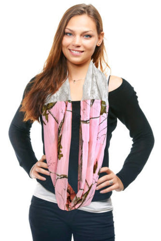 Realtree Pink Infinity Scarf Womens Pnk Camo & Lace Country Circle Loop Eternity