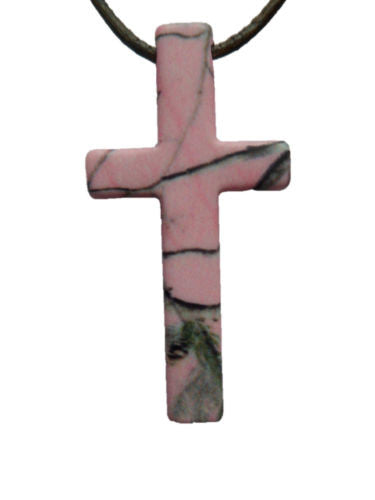 Realtree Pink Necklace Pink Camo APC Camoflauge Steel & Leather Cross Pendant