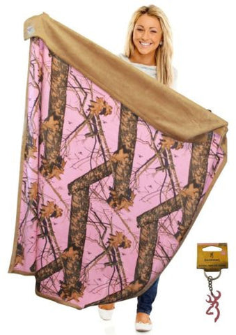 Mossy Oak Pink Camo Throw Blanket 56x70 Faux Suede