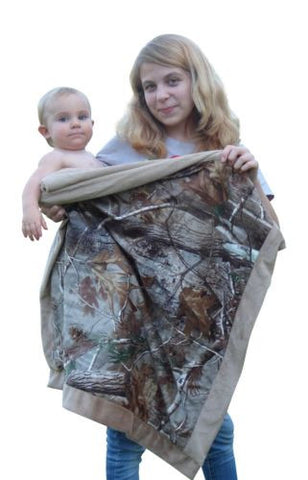 Realtree Baby Boy's Camo Faux Shearling Baby Blanket, AP, 34x34""