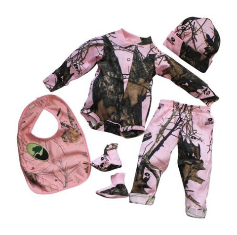 f322692bf Mossy Oak Pink Baby Girls Camo Outfit 4PC Shirt Pant Cap Booties Set (3-