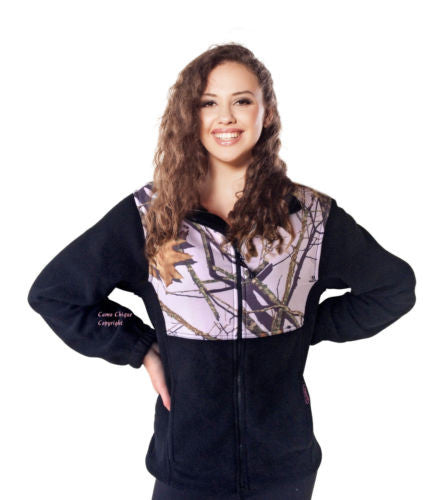 Mossy Oak Pink Jacket Womens S-1X Camo Accent Black Fleece Casual Fashion Jacket