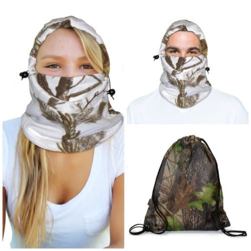 Realtree Snow Camo Balaclava Adult Unisex + Forest Camo Polyester Cinch Bag