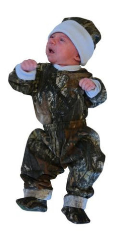 Mossy Oak Baby Boys Blue / Camo Outfit 4PC Shirt Pant Cap Booties Set (0-3 Mo...