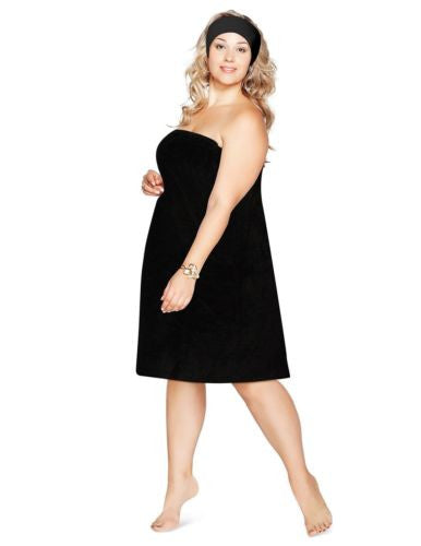Luxury Spa Wrap Womens Plus Size 4X Snap Bath Towel Shower Wrap (Black, 4XL 3X)