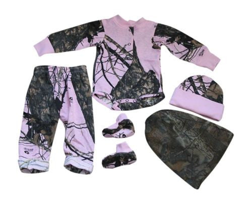 Realtree Mossy Oak Pink Baby Outfit- 4PC Camo Set: Shirt Pants Hat & Booties