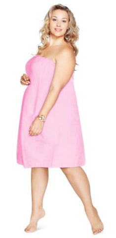 Luxury Spa Wrap Womens Plus Size Snap Bath Towel Shower Wrap  (Pink, XXL 1X 2X)