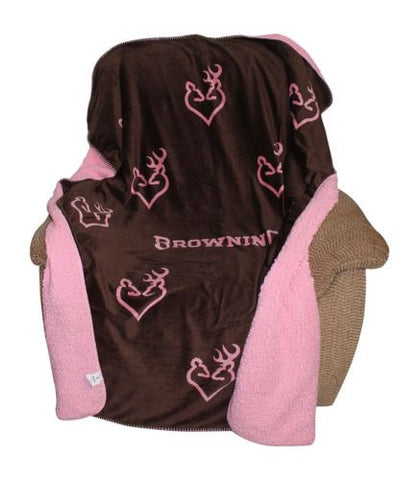 Browning Buckheart Micro Mink Sherpa Throw Blanket 50x60 Women Adult Pink Brown