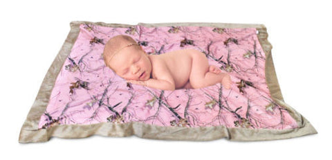 Mossy Oak Pink Baby Blanket Toddler Security Blanket Super Soft Microfiber Throw