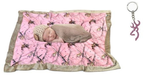 Mossy Oak Realtree Pink Baby Blanket + Browning Buckmark Keyring (34x40, Moss...