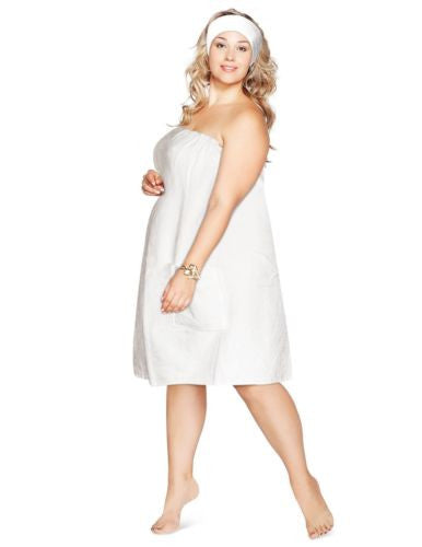 Luxury Spa Wrap Womens Plus Size Snap Bath Towel (White, XXL 1X 2X)