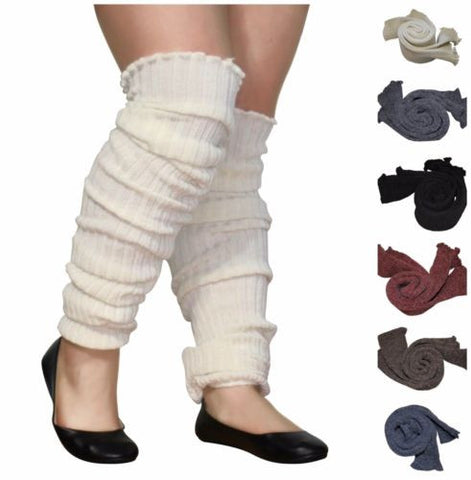 Plus Size Leg Warmers Super Long Slouch Cable Knit Toeless Wide Calf Boot Topper