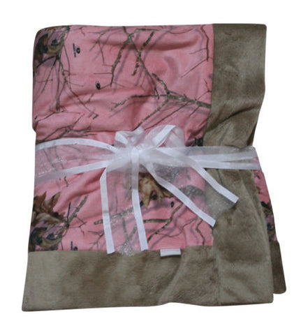 Pink Camo Blanket Mossy Oak Baby Toddler Infant Receiving Security Crib Blanket