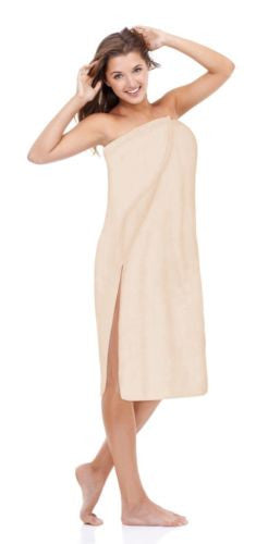Luxury Spa Wrap Womens Plus Size Snap Bath Towel Shower Cover Up (Ecru 4X 3X)