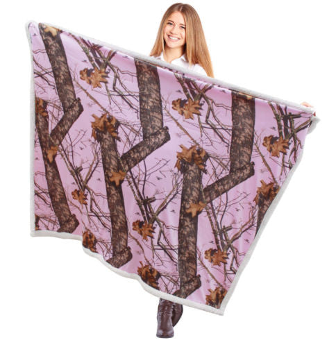 "Mossy Oak Pink Throw Blanket 50x60"" Lightweight Sherpa Camo Adult Lap Wrap Throw"