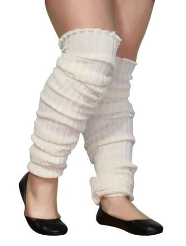 Plus Size Leg Warmers IVORY WHITE Over the Knee Super Long Cable Knit Leg Warmer