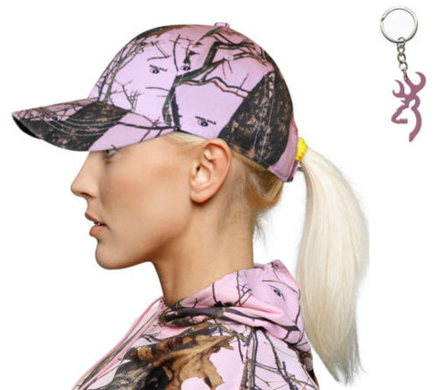Mossy Oak Pink Cap + Browning Buckmark Keyring 4 Country Girl Redneck Woman Camo
