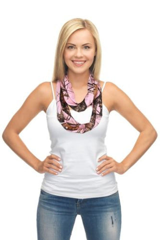 Pink Mossy Oak Infinity Scarf, Break Up Pink Camo Circle Loop Eternity Scarf