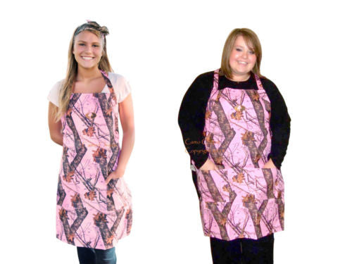 Mossy Oak Pink Camo Flame Resistant Grill Apron Womens Plus & Regular Sizes