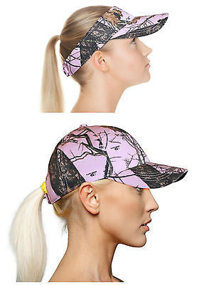 Mossy Oak Pink Cap Ponytail Velcro Back Camo Chique MO Break Up Pnk Hat OR Visor