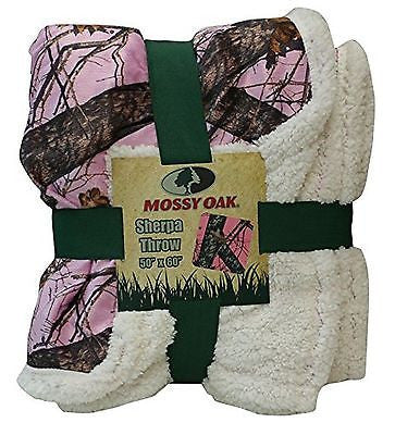 Mossy Oak Pink Camouflage Sherpa Throw Blanket Pink Cozy Warm CAMO 50X60 Blanket