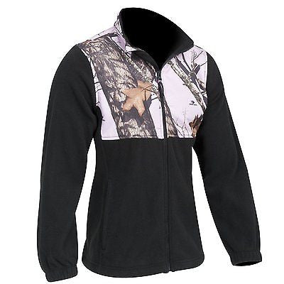 Mossy Oak Pink Jacket Womens Size LARGE Pnk Camo Casual Fleece Black Jacket SALE!!